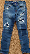 New American Eagle TOMGIRL Jeans Relaxed Tapered Destroyed Denim Pants Women 2
