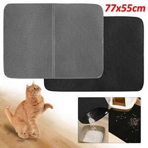Double Layer Cat Litter Tray Mat EVA Kitten disperse Control Paw Floor Clean UK