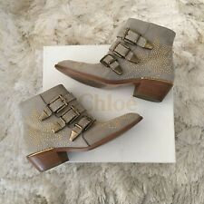 Chloe Susanna Dove Grey Suede Studded Buckle Ankle Boots Booties EUR 37 US 6