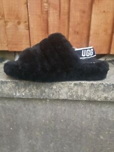 UGG Fluff Yeah Women's Black Slippers Size UK 10 EU 43