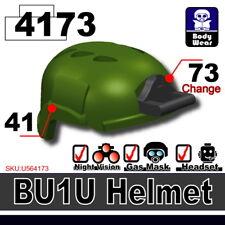 Tank Green BU1  (W302) Army Assault Helmet compatible w/toy brick minifig