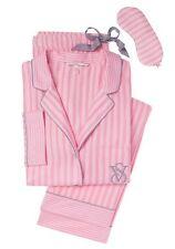 Victorias Secret Pajamas The Dreamer Flannel Pink Stripe Lurex PJ's Sz XL R NWT