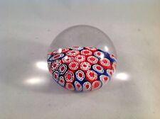 "Blue Red Flower Floral Glass Globe Paperweight 2-1/2"" Tall, 3"" Diameter"