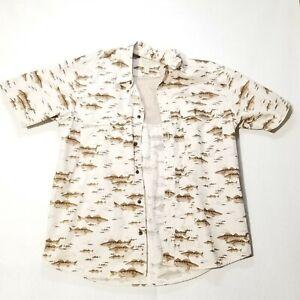 CABELA'S 61 Fishing Logo Shirt Men Large Tan Short Sleeve Vented Shirt w/ Pocket