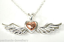 "Sterling Silver Angel Wings and Rose Gold Heart Pendant and 18"" chain Gift Boxed"