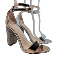 WOMENS LADIES HIGH HEELS EVENING WEDDING PARTY ANKLE OPEN TOE SANDALS SHOES SIZE