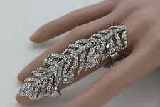 Elastic Band Long Leaf Classic Fancy Hot Women Silver Metal Ring Fashion Jewelry