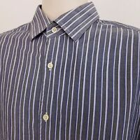 Banana Republic Long Sleeve Shirt Men's Large Slim Fit Gray Striped Cotton