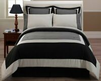 Chezmoi Collection Soho 3-Piece Hotel Style Block Duvet Cover Set