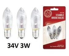 3 x REPLACMENT SPARE BULBS CHRISTMAS CANDLE LIGHT ARCH BRIDGE 34V 3W E10 SCREW