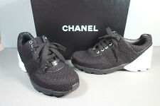 CHANEL 36.5/6 Black White Tweed Leather Lace Up Sneakers Tennis Shoes Sport New