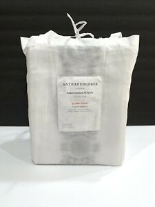 NEW Anthropologie QUEEN DUVET Embroidered Petunia White & Grey Duvet Cover