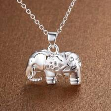 925 Sterling Silver Plated Elephant Pendant Necklace + Free Gift Bag.