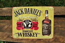 Jack Daniels Old No. 7 Tin Metal Sign - Bottle - Tennessee Whiskey - Hand Made