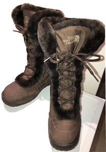 Ladies THE NORTH FACE Brown Nuptse Snow Boot Fur Trim UK 8 VGC -Hardly Worn!!!