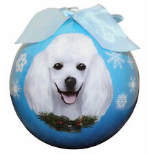 Poodle White Ball Ornament