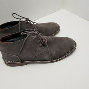 Mens Reaction Kenneth Cole Leather Ankle Shoes Boots Gray Desert Sun 11 W