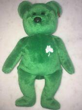 Vtg TY Beanie Baby Erin The Bear 1997 Error Retired Green St. Patty's Day Clover