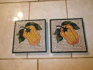 Pier1 Hand Painted Mosaic YELLOW PEPPER TILE Made in Italy # 7955 6 inch