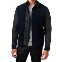 Inc International Concepts Men's Mixed Media Sweater-Jacket, Navy Blue, Large L