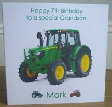 Personalised Handmade Tractor Birthday Card Son Grandson Godson Nephew Dad