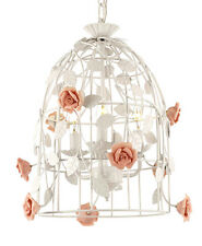Italy Tole Rose Garden Trellis cage Shaby Chic White finish Chandelier pluginopt
