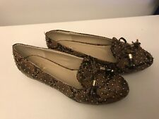Wanted Luca Tan Studded Faux Snake-Skin Flats Shoes size 8 New