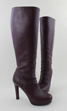 Gucci Burgundy Leather Platform Knee High Heeled Boots Size 38 8