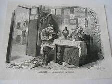 Moscou Un Moujik et sa femme Antique Old Print 1871