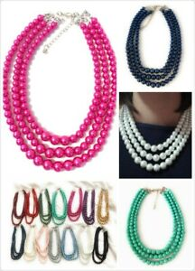 Womans Faux Pearl 3 Layer Multi Strand Gatsby Necklace Statement Bib Vintage UK