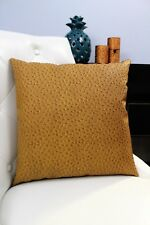 Beige Brown Accent Decorative leather pillow throw case cover cushion couch