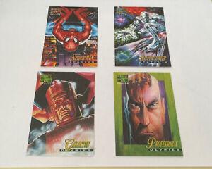 1995 Fleer Marvel masterpieces canvas 4card lot Spider-Man S.surfer , Galactic.