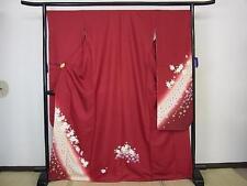 Brand New Silk Kimono Furisode Red Japanese Dress Sakura flower interior art