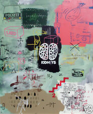 SJART abstract modern collage mixed media painting