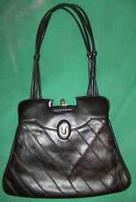 vtg 60's cross stitched detail red interior black faux leather shoulder bag Mr T