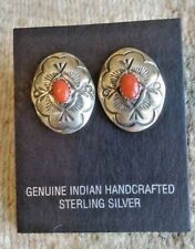 Navajo Red Coral Silver Post Earrings Signed Collectible Native American USA