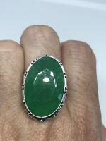 Vintage Silver Genuine Faceted Green Chrysoprase Ring