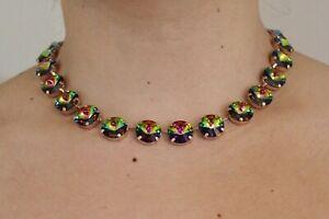 Rose Gold Plated Necklace with 14mm Vitrail Medium Rivoli Swarovski Crystals