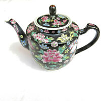 Vintage Chinese Black Floral Porcelain Teapot Hand Painted