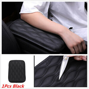 1x Black Synthetic Leather Center Console Cover Cushion Armrest Pad For Car SUV