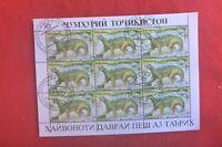 TAJIKISTAN PREHISTORIC ANIMALS  MINI SHEET OF 9   CTO TYRANNOSAURUS