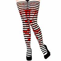 Mujer Blanco y Negro Rayas Disfraz Preso Disfraz Halloween Medias
