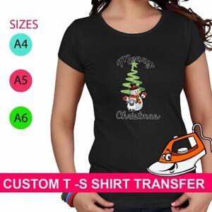 Snowman Pom Pom Print Iron On Fabric Heat Transfer T Shirt Merry Christmas Party