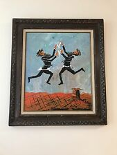 Morris Katz Two Hasidic Jews Dancing On The Rooftop  Framed Oil Painting
