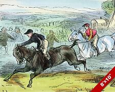 JUMP RACING STEEPLECHASE HORSE JOCKEY RACE ART PAINTING REAL CANVAS PRINT