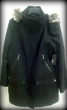 NWT a.n.a Misses Sz M - Black Wool Blend Coat, Faux Fur Trimmed Hood