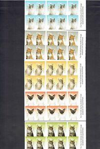 2015 Cats - 5 No. 10 x 70c Self Adhesive Booklets. MUH/MNH