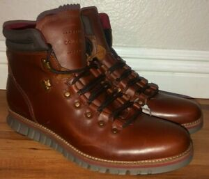 Cole Haan ZeroGrand OS Leather Lace-up Hiking Boots Burgundy Mens NWT $250
