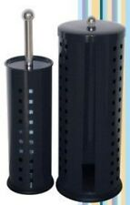 New Stainlees Steel Toilet Brush and Roll Store Set - Black