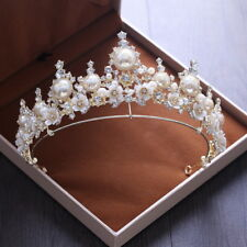 7.2cm High Star Pearl Crystal Gold Wedding Bridal Party Pageant Prom Tiara Crown